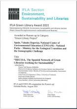RECIDA IFLA Green Library Award 2021